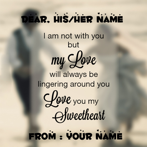 Write Name on Love You Sweetheart Note Greeting Card
