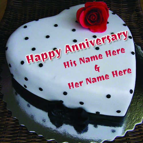 Write Your Name On Anniversary Red Rose love heart Cake