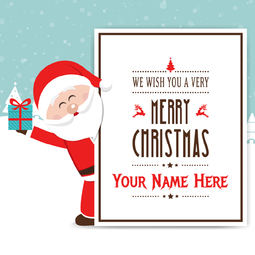 Merry Christmas Smiling Santa Greeting With Your Name