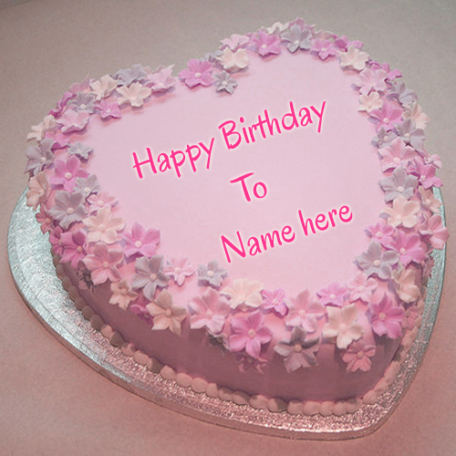 Birthday Images With Flowers And Cake With Names : Beautiful Pink Flower Birthday Cake With Your Name