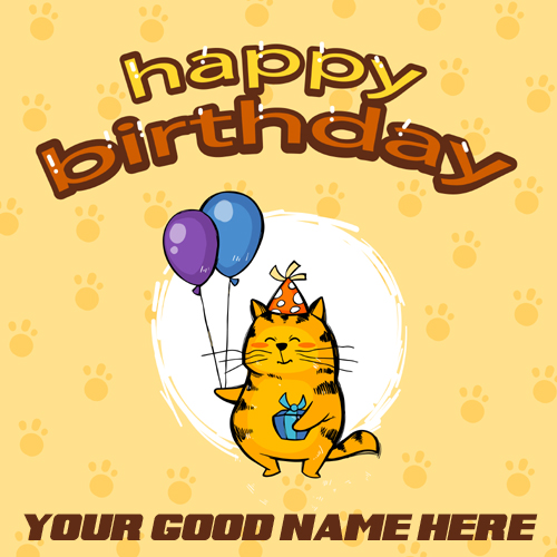 Happy Birthday Greeting Card With Cat and Your Name