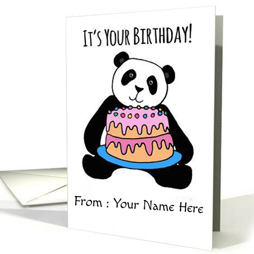Write Name on Happy Birthday Funny Greeting Card