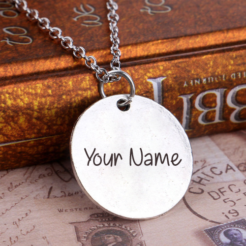 Write Name on Silver Plated Women Men Pendant Jewelry