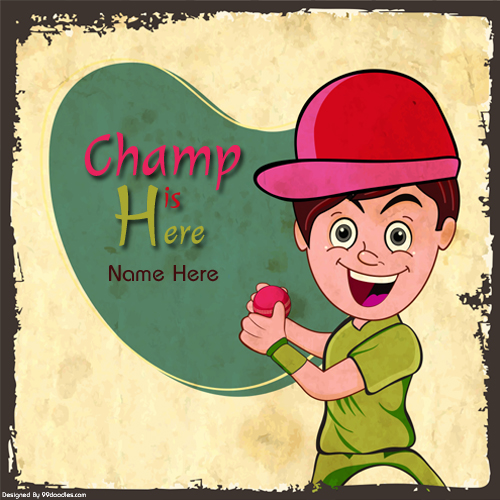 Write Name on Champ is Here Funny Greeting Card