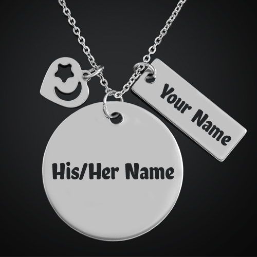 Print Name on Copper Alloy Necklace With Heart Charm