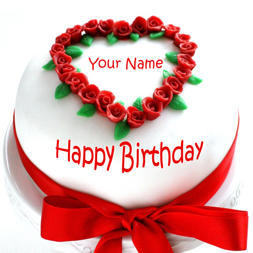 Write Name On Happy Birthday Cake With Red Ribbon