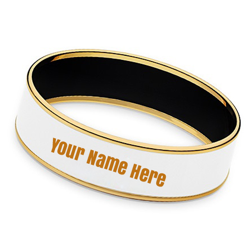 Hermes Mens Gold Plated Narrow Bracelet With Your Name