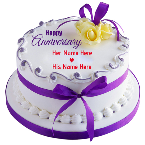 Write Name on Round Classic Anniversary Cake