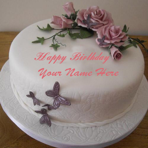 Write Your Name On flowers Birthday cake Online