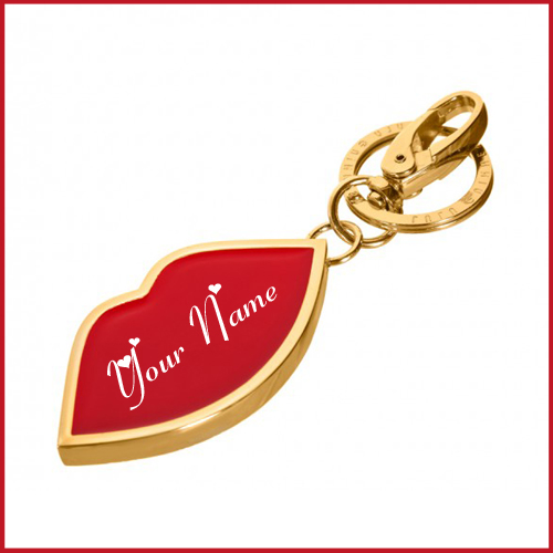 Red Lips Keyring Profile Pics With Your Custom Name