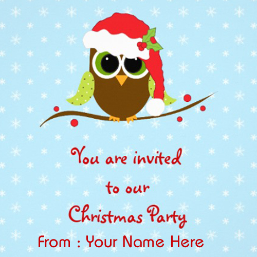 Write Name on Merry Christmas 2015 Invitation Greeting