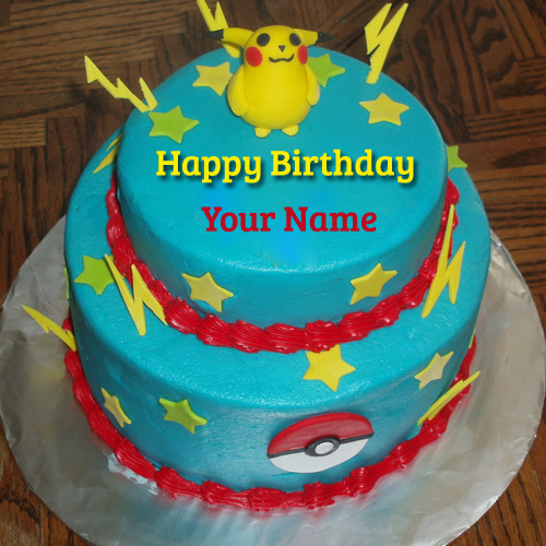 Write Name on Cute Pokemon Birthday Wishes Real Cake