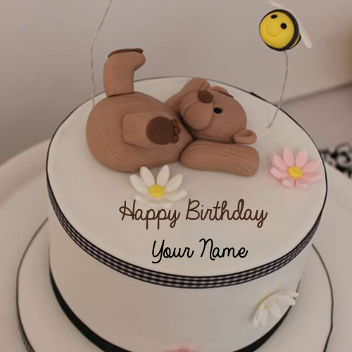 Write Name on Cute Teddy Bear Toppings Birthday Cake