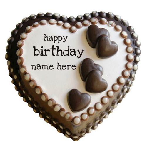Write Name on Happy Birthday Heart Chocolate Cake