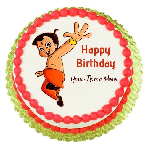 Write Name on Chhota Bheem Birthday Cake Picture