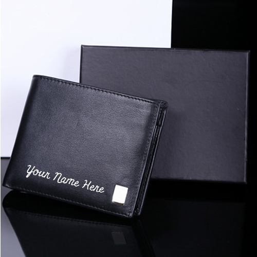 Write Name on Leather Wallet For Men