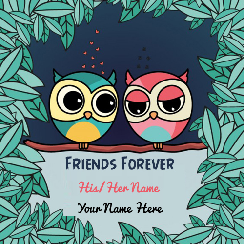 Friends Forever Couple Bird Greeting With Your Name