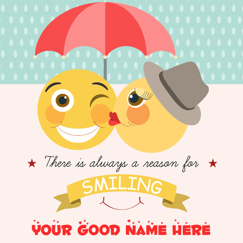 Cute Love Emoticons Couple Greeting Card With Your Name