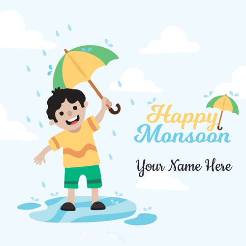 Write Name on Happy Monsoon Wishes Elegant Greeting