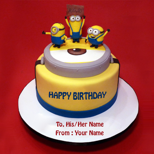 Write Name on Minions Theme Birthday Cake Picture