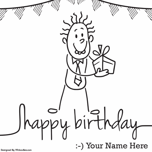 Write Name on Happy Birthday Greeting With Funny Boy