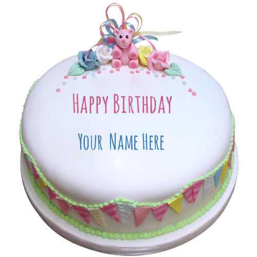 Round Cake For First Birthday Wishes With Your Name