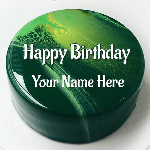 Awesome Mirror Glaze Birthday Wishes Cake Pic With Name
