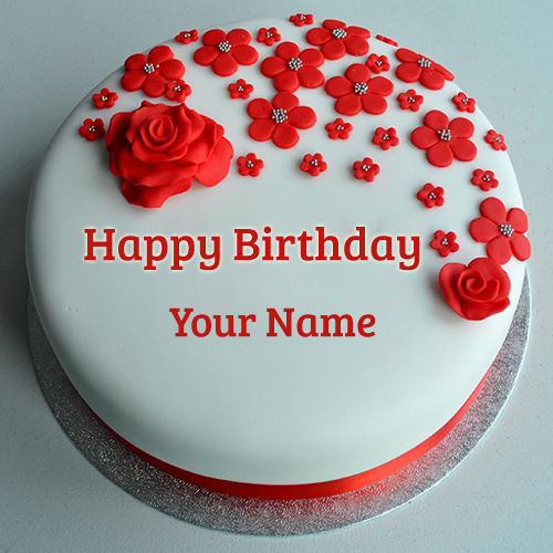 Cake Images With Name Mayuri : Red Rose Decorated Birthday Cake With Your Name