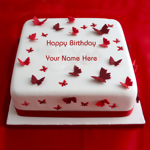 Write Name on Best Butterfly Birthday Cake