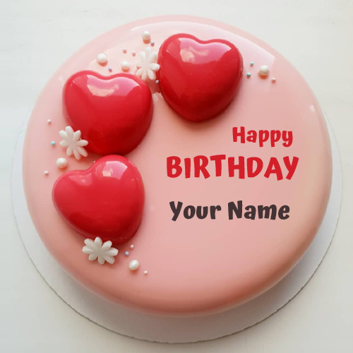 Write Name On Romantic Birthday Cake With Red Hearts