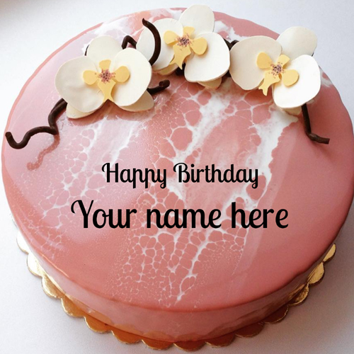 Beautiful Mirror Glazed Floral Birthday Cake With Name