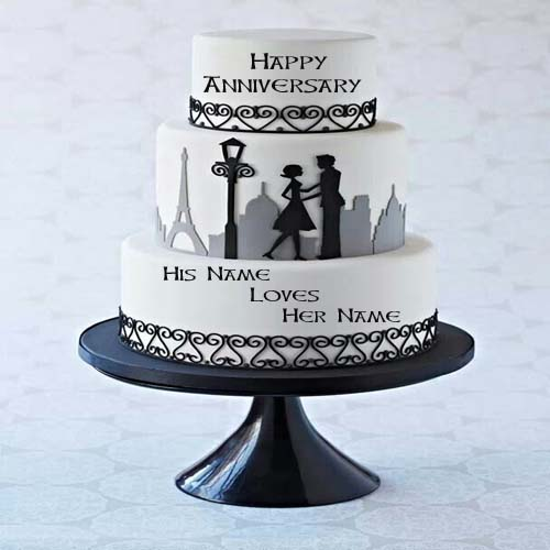 Write Name On Couple Anniversary Cake Online Free