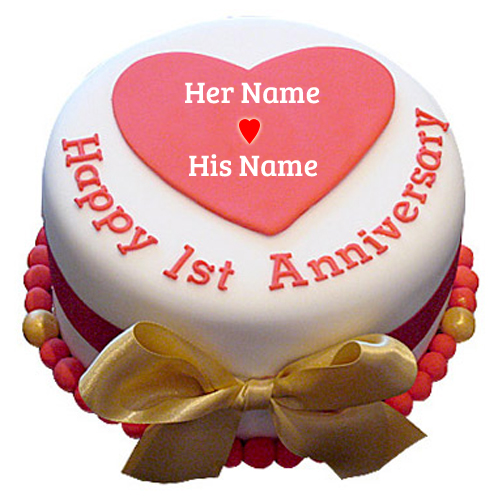 Write Name On Hy 1st Wedding Anniversary Cake With Your Pics