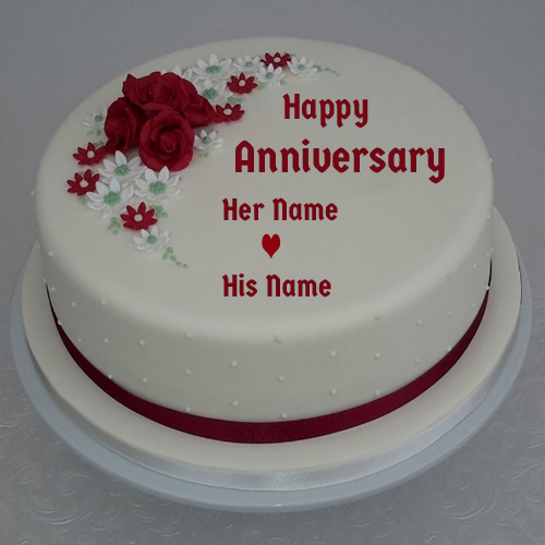 Anniversary Special Red Rose Romantic Cake With Name