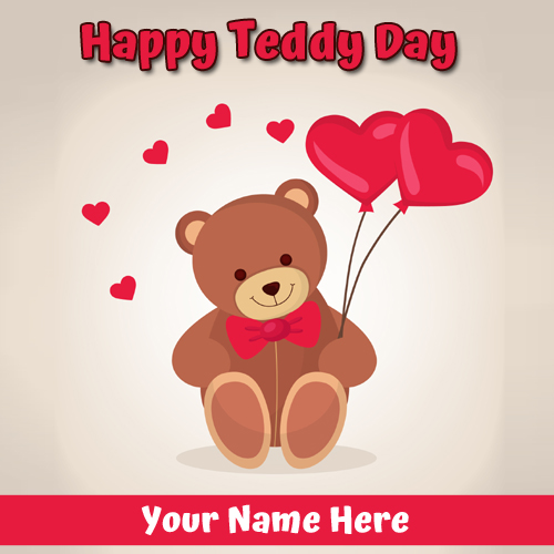 Write Name on Happy Teddy Day 2019 Love Greeting Card