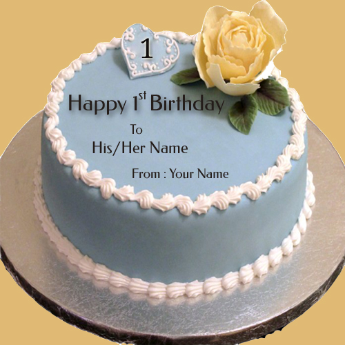 Write Name on Happy 1st Birthday Wishes Cake