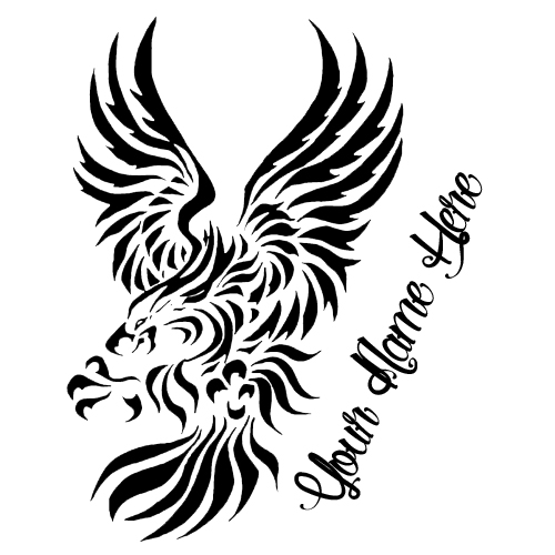 Create Eagle Tribal Tattoo Design With Your Name