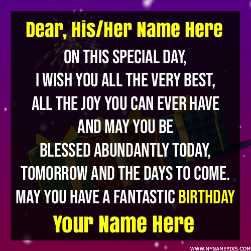 May You Have a Fantastic Birthday Greeting With Name