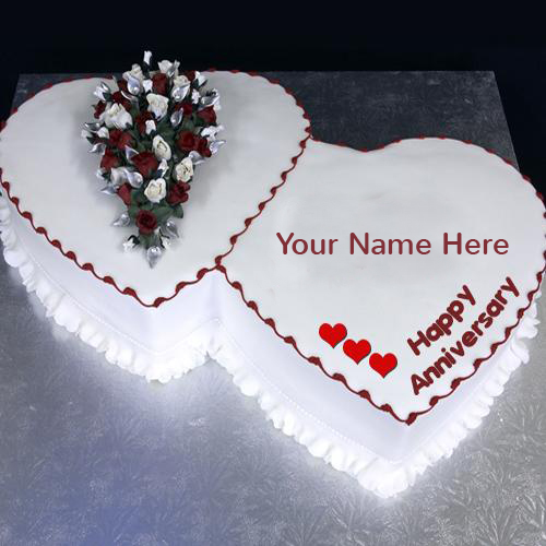 Write Name on Happy Anniversary Cake Greeting