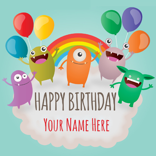 Happy Birthday Funny Monsters Greeting Card With Name