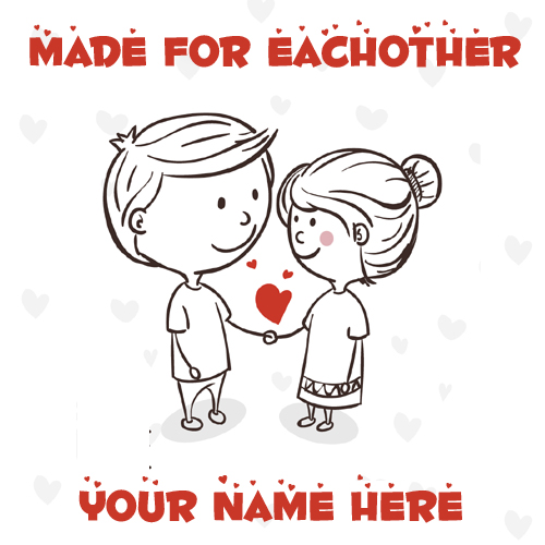 Made For Eachother Love Couple Greeting Card With Name
