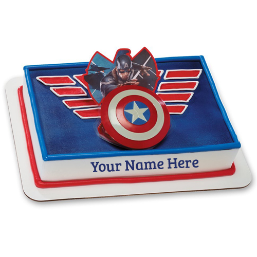 Captain America Superhero Birthday Cake With Your Name