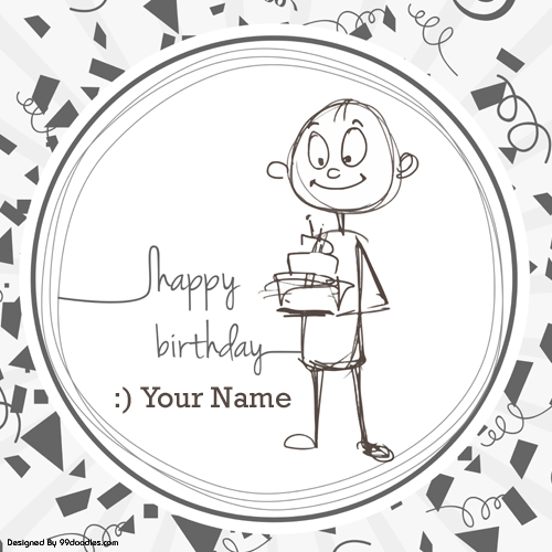 Write name on funny cute boy birthday greeting card m4hsunfo