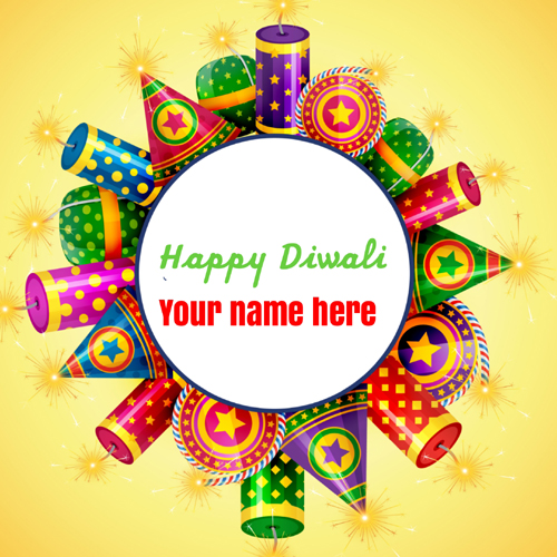 Write Name on Deepawali 2018 Wishes Greeting Card