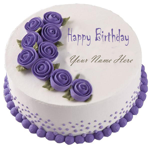 Write Your Name On Purple Happy Birthday Cake Online