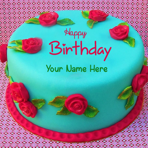 Write Name on Beautiful Flower Velvet Birthday Cake