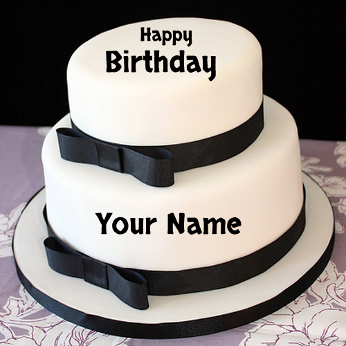 Elegant Happy Birthday Black and White Cake With Name