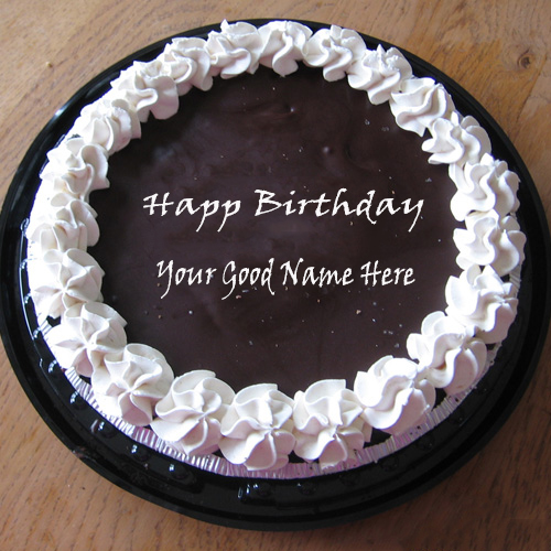 Write Your Name On Chocolate Icecream Birthday Cake