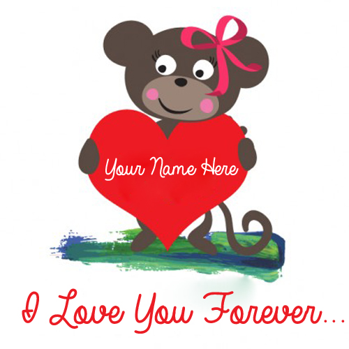 I Love You Forever Teddy With Red Heart and Your Name