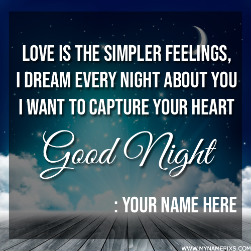 Write Name on Romantic Good Night Wishes Quote Greeting